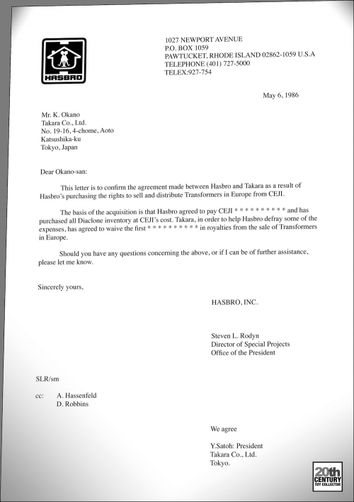 Mention of Ceji deal in document between Hasbro and Takara